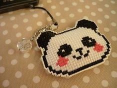 Cross stitch phone charm panda gift for teens by MariAnnieArt Cross Stitch Bookmarks, Cross Stitch Love, Cross Stitch Patterns, Cute Keychain, Keychains, Panda Gifts, Kawaii Accessories, Iron Beads, Geek Gifts