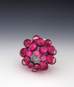 Berry Extraordinaire, Focal Lampwork Glass Bead, Designed and handmade by Liliana, pink, aqua, blue, teal