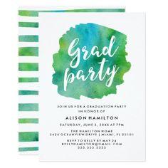 Green Watercolor Graduation Party Card