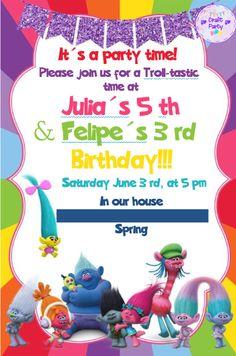 Trolls Digital Invitation #birthdayinvitation #trolls #digitalinvitation  #kidsparty #convitedigital #festainfantil
