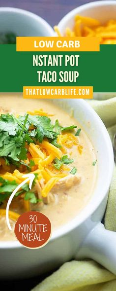 Low carb taco soup made in the Instant Pot! This quick keto soup recipe is ready in less than 30 minutes and it's bursting with spicy Mexican flavors! I've included slow cooker instructions too! I'm pretty in love with this keto soup recipe and I bet you will be too! I'm curious though Low Carb Taco Soup, Keto Soup, Chili Recipes, Soup Recipes, Weeknight Meals, Easy Meals, Chicken Taco Soup, Low Carb Diet Plan, 30 Minute Meals