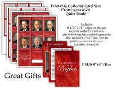 PRINTABLE FILE - LDS Quiet Book or Sacrament Meeting Book. Testimonies of the Prophets and Apostles. Great Gift for older Primary Children Young Men or Young Women or seminary Students. Good incentive or craft activity. Pre made or DIY Kits for printables.