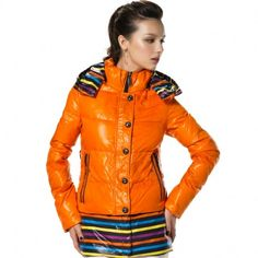 Women's Stand Collar Zip-up Single-breasted Removable Hem Detachable Hood Down Jacket