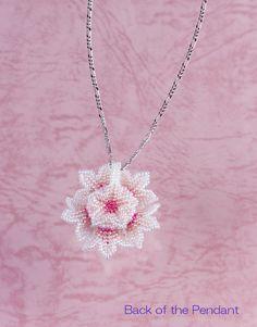 Beaded Flower Dome Pendant Pink & White van ChikaBeadwork op Etsy
