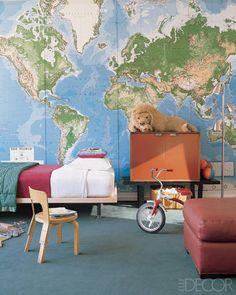 A map as wall art - ELLE DECOR