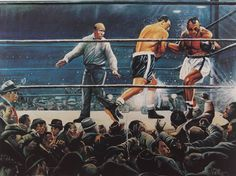 """""""Making of A Legend"""" oil on canvas by Gabe Perillo featuring Rocky Marciano knocking out Jersey Joe Walcott."""