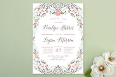 Lover's Floral Frame Bridal Shower Invitations by Andrea Snaza at minted.com