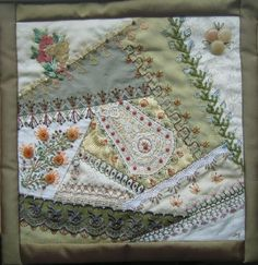 Margreet's Draadjespaleis: Memory Crazy Quilt. With beads and buttons from my childhood.