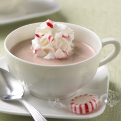 Peppermint Chocolate Eggnog: Creamy no-cook chocolate eggnog recipe made with Egg Beaters, Swiss Miss Hot Cocoa Mix and peppermint ice cream Christmas Desserts Easy, Quick Easy Desserts, Christmas Foods, Christmas Traditions, Cooking Chocolate, Hot Chocolate Recipes, Peppermint Ice Cream, Peppermint Chocolate, Eggnog Recipe