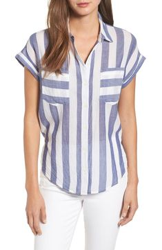 Main Image - Lucky Brand Stripe Tie Back Crinkle Cotton Top Burberry Shirt Women, Vestidos Nancy, Striped Fabrics, Summer Shirts, Casual Tops, Tunic Tops, Lucky Brand, Cotton, Style