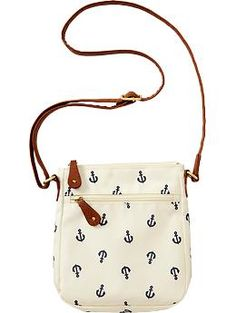 Womens Zip-Pocket Crossbody in Anchor Print | $14.94 #OldNavy #Summer {Cute little crossbody purse for Summer. And for the price, you really can't beat that!}