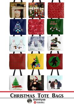 Festive and colorful #Christmas #ToteBags - available in up to 3 sizes at #Redbubble by #Gravityx9 -