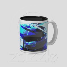 Coffee Mug: Chevy Camaro ZL1 in showroom with a 1970 Corvette from Zazzle.com....100% money back guarantee....available nowhere else.