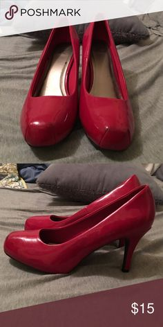 Red pumps! 3 inch red pumps. A little worn but still in good condition. Has moleskin where the balls of your feet go. Very comfy! it's ok Shoes Heels