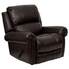 Flash Furniture Plush Brown Leather Rocker Recliner MEN-DSC01072-BRN-GG