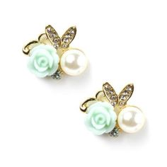 Carved Rose, Pearl and Butterfly Stud Earrings