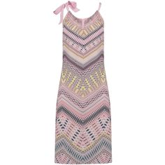CHARLOTTE SPARRE Tie Strap Silk Printed Dress - Pastel ($315) ❤ liked on Polyvore featuring dresses, pastel, yellow cocktail dress, high neck dress, evening dresses, cutout dresses and high neck cocktail dress