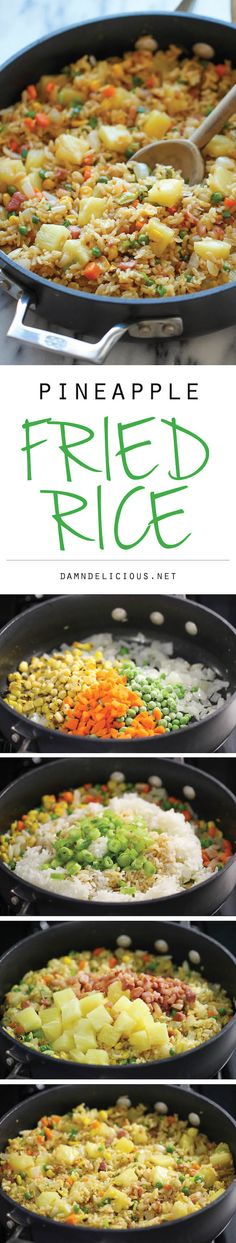 Pineapple Fried Rice3 tablespoons soy sauce 1 tablespoons sesame oil 1/2 teaspoon ginger powder 1/2 teaspoon white pepper 2 tablespoons olive oil 2 cloves garlic, minced 1 onion, diced 2 carrots, peeled and grated 1/2 cup frozen corn 1/2 cup frozen peas 3 cups cooked brown rice 2 cups diced pineapple, canned or fresh 1/2 cup diced ham 2 green onions, sliced
