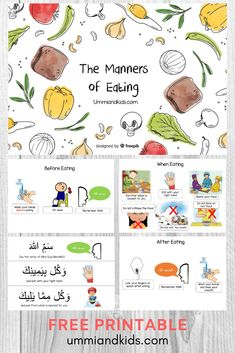 Free Printable ebook on the Manners of Eating for Kids Islam Hadith sunnah Free Printable ebook on the Manners of Eating for Kids Islam Hadith sunnah Activities. Free Activities For Kids, Worksheets For Kids, Book Activities, Preschool Activities, Islamic Books For Kids, Islam For Kids, Manners For Kids, Teaching Kids Manners, Muslim Book