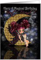 Best Friend Magical Birthday cute little moon fairy by moonlake card