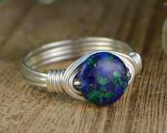 Azurite Wrapped Ring - Sterling Silver, Yellow or Rose Gold Filled Wire with Round Azurite Gemstone - Any Size 4 5 6 7 8 9 10 11 12 13 14