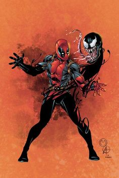 #Deadpool #Fan #Art. (Marat's Deadpool and Venom colored) By: Seanforney. (THE * 5 * STÅR * ÅWARD * OF: * AW YEAH, IT'S MAJOR ÅWESOMENESS!!!™)[THANK U 4 PINNING!!!<·><]<©>ÅÅÅ+(OB4E)  https://s-media-cache-ak0.pinimg.com/564x/16/4e/9f/164e9fedd321006ecec82af871731508.jpg