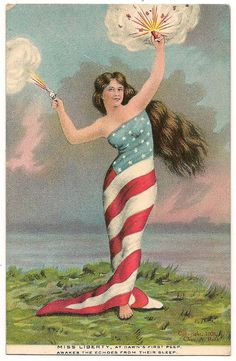 """1908 postcard--message:  """"Miss Liberty, at dawn's first peep, awakes the echoes from their sleep."""""""