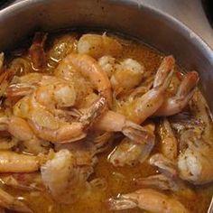 Beer-Boiled Shrimp Recipe with butter, onions, salt, shell-on shrimp, beer