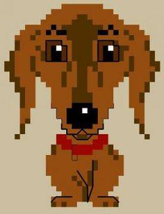 chien - dog - broderie - cross stitch- Teckel - Point de croix - Blog : http://broderiemimie44.canalblog.com/