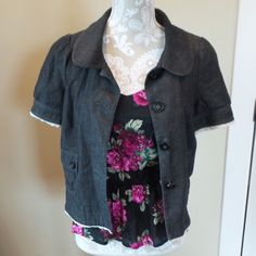 Juicy Couture Short sleeve cropped blazer Super cute Juicy Couture short sleeve cropped blazer. Denim/Chambray. Interesting features: Cute buttons, crochet lace trim, feminine shipped collar, and slight puff sleeves. Juicy Couture Jackets & Coats Blazers