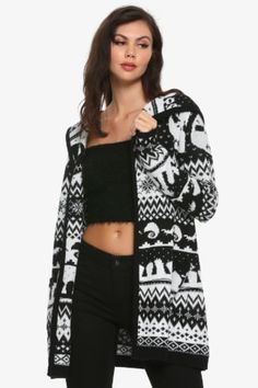 Hot Topic : The Nightmare Before Christmas Fair Isle Girls Hooded Flyaway Cardigan Nightmare Before Christmas Sweater, Black Parade, Embellished Jeans, Hooded Cardigan, White Girls, Guys And Girls, Clothes, Hot Topic, Kleding