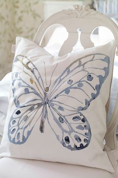 Blue and White ~ Decorative Butterfly Pillow, Rose Garden collection - Katarina Brieditis - Textile Design