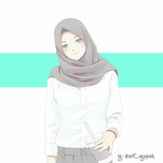 The actual scarf is the central bit inside the clothing of ladies along with hijab. Anime Poses Female, Cover Wattpad, Laika Studios, Hijab Drawing, Drawing Tips, Wallpaper Hp, Islamic Cartoon, Hijab Cartoon, Islamic Girl