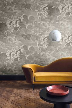 Cole and Son have launched a new metallic version of the iconic Nuvolette Wallpaper which forms part of the Fornasetti collection. This delicate but striking cloud wallpaper will add a dreamy feel to any room. Fornasetti Wallpaper, Piero Fornasetti, Charcoal Wallpaper, Cloud Wallpaper, Moody Wallpaper, Wallpaper Ceiling, Luxury Wallpaper, Beautiful Wallpaper, Ideas