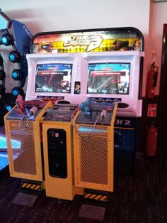 Time Crisis 2 and 3. An arcade game of shooting as fast as you can avoiding the bullets of your enemy. Its always a challenge to play these games trying not to waste a lot of money in it. A must of experiences if you like shooting games