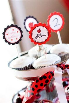 Adorable lady bug cupcake toppers. #ladybug #birthday #party