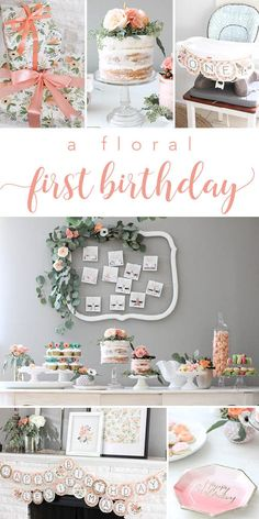 A Rifle Paper Co Inspired Floral First Birthday Pa - Decoration Papier 25th Birthday Parties, First Birthday Themes, Baby Girl 1st Birthday, 1st Birthdays, 25 Birthday, 1st Birthday Girl Party Ideas, 21st Party, Simple First Birthday, Birthday Chair