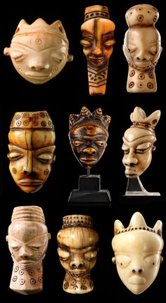 "Central Africa | Ivory ""ikoko"" pendants from the Pende people of the Democratic Republic of Congo"