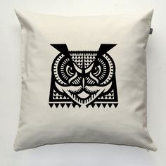Owl Decorative pillow cover, pillowcase, gift, cushion case, decorative throw pillow, sofa ecru pillow by PSIAKREW on Etsy