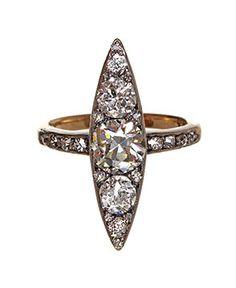 Edwardian Navette Cluster Diamond Ring