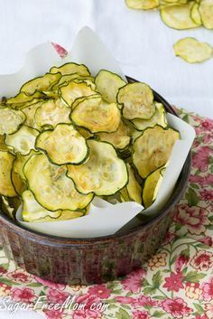 salt and vinegar zucchini chips from Sugar-Free Mom was featured in the Deliciously Healthy Low-Carb Recipes Roundup from December 2014 on KalynsKitchen.com. #DeliciouslyHealthyLowCarb