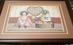 """Pat Pearson Signed, Double Matted and Framed """"The Birthday Party"""" Folk Art Picture with Free Shipping"""