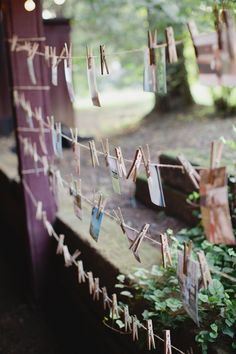 Escort Cards On Twine | photography by http://www.kristynhogan.com/