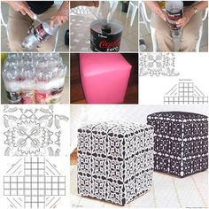 DIY Plastic Bottle Ottoman