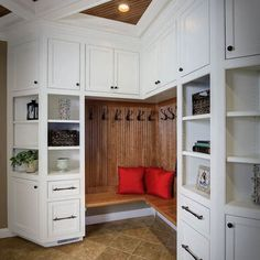 Front Hall Coat Closet with Bench Seating. Perfect for an entry way so you can take shoes off