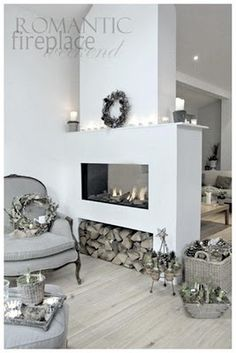 Modern fireplaces rustic living room double-sided fireplace firewood storage baskets of flowers wreaths Bedroom Storage Ideas For Clothes, Bedroom Storage For Small Rooms, Bathroom Storage, Home Fireplace, Fireplace Design, Fireplace Ideas, Fireplace Hearth, Fireplace Modern, Fireplace Whitewash