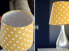 Recover lamp shade with fabric