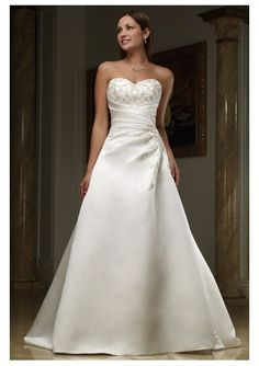 Apple Body Type Wedding Dress | Home > Wedding Dresses > A-Line Wedding Dresses > satin sweetheart ...