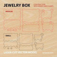 Joyero de madera con bisagras y abrazaderas.  Versión 2.2  Vector/modelo de plan para cnc, lasercut, cortadora láser, máquina de láser.  El sistema