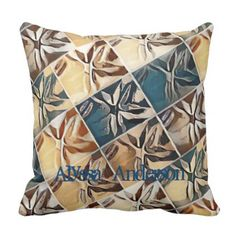 Brown blue  Modern Flowers abstract Throw Pillow - home gifts ideas decor special unique custom individual customized individualized